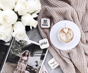 coffee, roses, and white roses image
