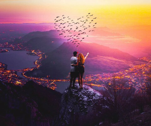 adventure, couple, and sunset image