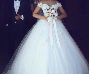 dress, wedding, and marriage image