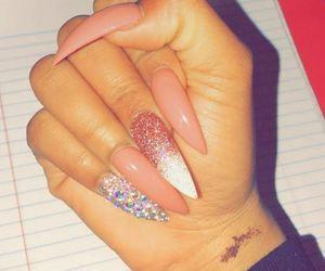 nails, long, and pink image