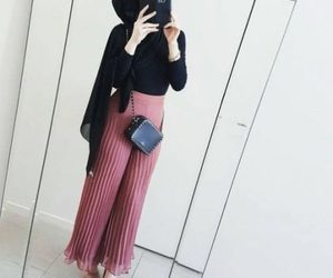 hijab and pleated palazzo pants image