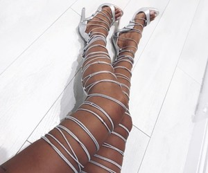 high heels, shoes, and silver image