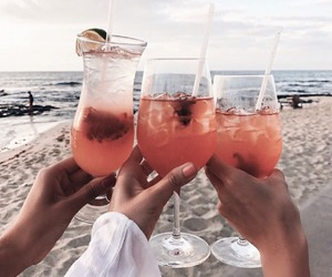 drink, beach, and summer image