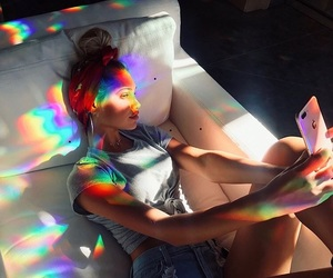 girl, rainbow, and style image