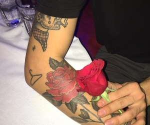 rose, tattoo, and red image