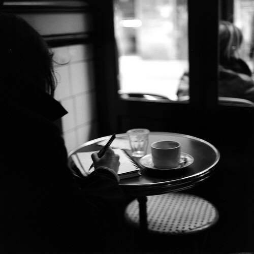 coffee, black and white, and writing image