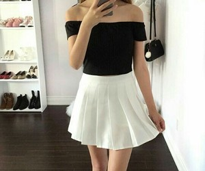 black top, fashion, and girly outfit image