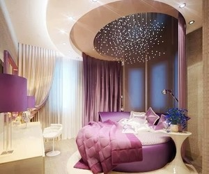 bedroom, room, and purple image