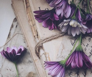 books, flowers, and vintage image