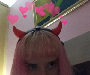 cut girl, demon, and pink hair image