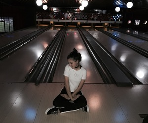 black and white, bowling, and girl image