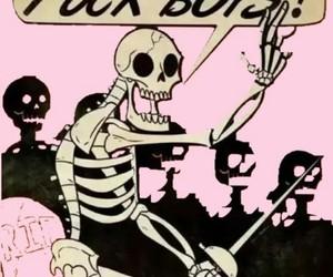 grunge, pink, and skeleton image