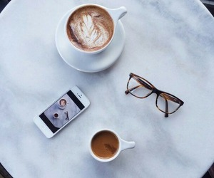 coffee, glasses, and iphone image
