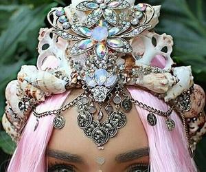 mermaid, crown, and pink image