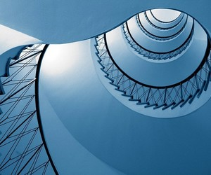 spiral, blue, and spiral stairway image