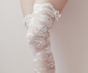 lace, white, and stockings image