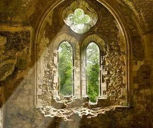 light, window, and ruin image