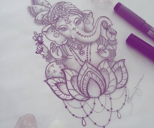 art, Ganesha, and love it image