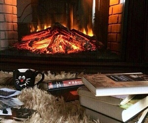 book, autumn, and fire image