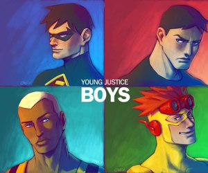 boys, robin, and superboy image