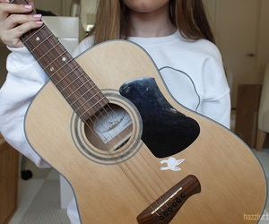 girl, guitar, and love image