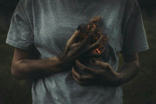 fire, heart, and pain image