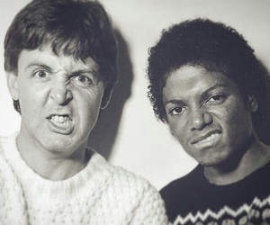 michael jackson, Paul McCartney, and black and white image