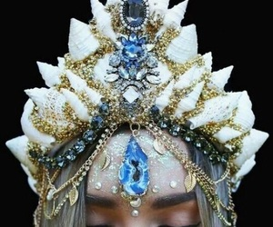 crown, blue, and mermaid image