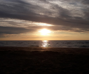 beach, sunset, and deauville image
