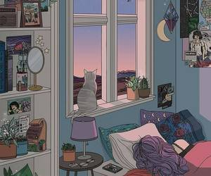 cat, art, and room image