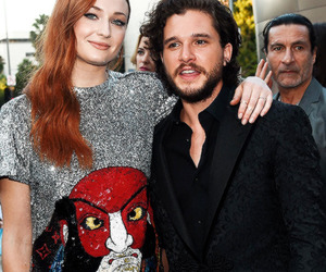 kit harington, sophie turner, and game of thrones image
