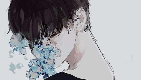 flowers, art, and boy image