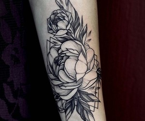 flowers, ink, and peony image