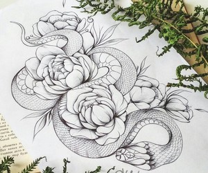 animal, art, and flower image