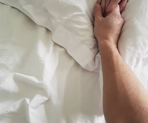 bed, hand, and love image