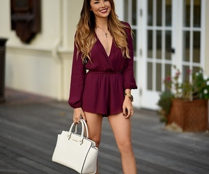 burgundy, outfit, and playsuit image