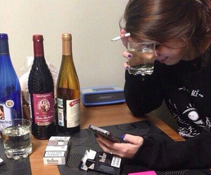 alcohol, sad, and cigarette image