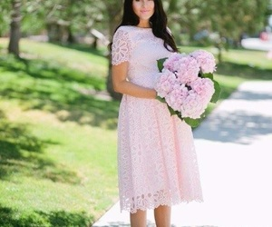 dress, peonies, and pregnancy image