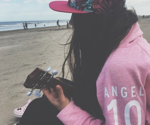 beach, girl, and music image