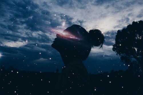 girl, stars, and sky image