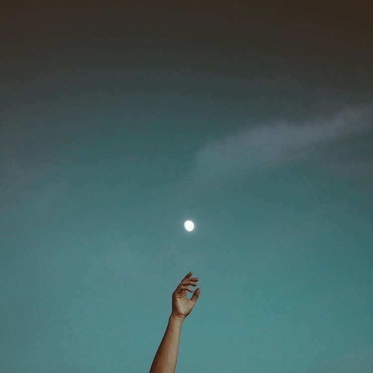 moon, sky, and hand image