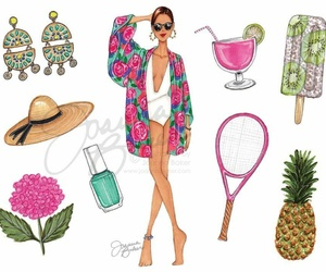 cocktail, fashion illustration, and flower image