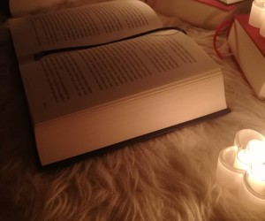 books, candle, and chill image