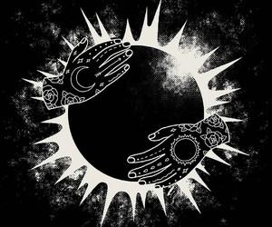 art, moon, and sun image