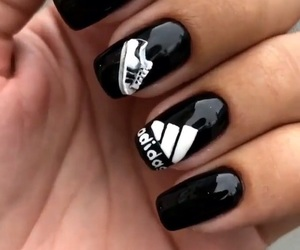 adidas, black&white, and nail image