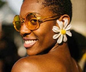 accessories, curly hair, and brown skin image