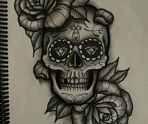 skull, rose, and tattoo image