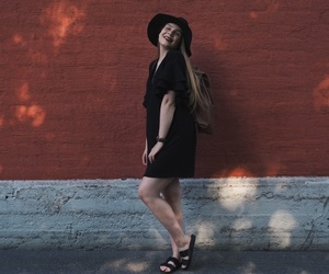 black dress, happy, and outfit image