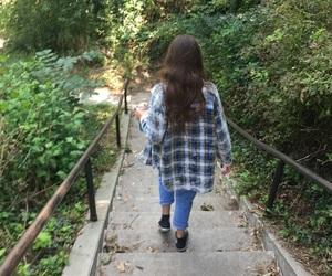 converses, long hair, and nature image
