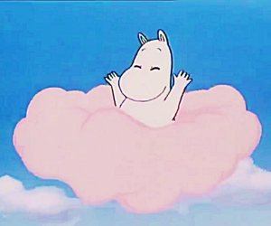 clouds, pink, and moomin image